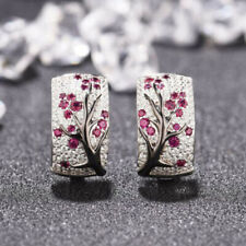 925 Silver Women Red Ruby Flower Plum Blossom Stud Ear Hoop Earrings Jewelry NEW