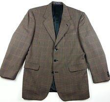 Jeffrey Banks Mens Sport Coat 44 R Three Button Houndstooth Windowpane Brown