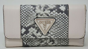 NEW GUESS Women's White Gray Faux Snake Snakeskin Print Organizer Wallet Clutch