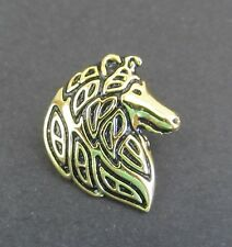 Collie Rough Profile Brooch or Pin -Fashion Jewellery Gold Plated, Stud Back