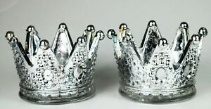 Set of 2 Silver Mercury Large Crown Candle Holder for Christmas Party Gift