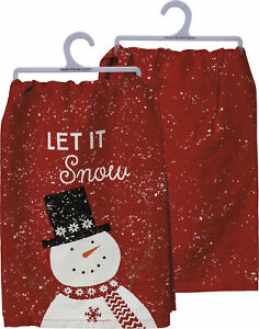 """PBK Dish Towel - Let It Snow Red and White Red and White, 28"""" x 28"""", One Towel"""