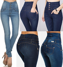 NEW WOMENS SUPER HIGH WAISTED JEANS RIPPED SKINNY JEGGINGS LADIES CORSET 6-16