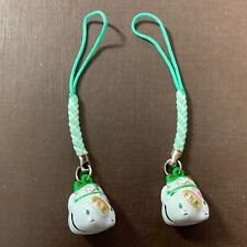 2 pcs x Maneki Neko Lucky Cat Bell, Cell Phone Charm, Handbag, Keychain WHITE
