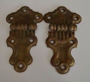 2 1900 era Brass Antique Ice Box Hinges Hardware Trunks Furniture etc