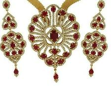 RUBY CZ DESIGNER JEWELLERY SET WITH BROAD CHAIN + FREE SHIPPING