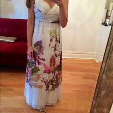 ZARA CREAM FLORAL PURE SILK MAXI GRECIAN LONG SUMMER DRESS S SMALL 10 6 38