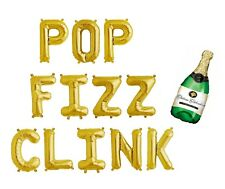 """POP FIZZ CLINK Letter Balloons - 16"""" Gold Balloons - Bubbly Bar Sign - US SHIP"""