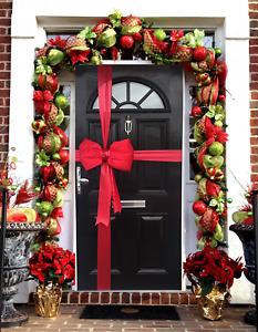 Luxury Christmas Padded Satin Door Bow Decoration Kit