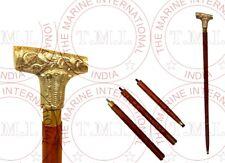 Designer Victorian Derby Walking Stick Brown Wooden Brass Inlaid Cane Antique