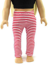 Red & White Striped Leggings for 18 inch American Girl Doll Clothes Accessories
