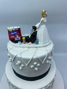 Quarantine Bride Groom masks Wedding Cake Topper Funny Toilet Paper 19