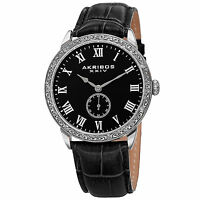 Men's Akribos XXIV AK867SSB Antique Silver-tone Embossed Bezel Leather Watch