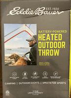 Eddie Bauer Battery Powered Heated Outdoor Throw Blanket 40in×50in - Black