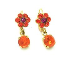 Mariana Earrings Cute Dangling Flower Shape Orange & Pink Crystal Swarovski L...