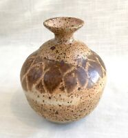 Vintage Hand Thrown Studio Art Brown Pottery Vase - Unsigned