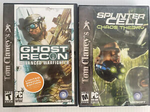 Ghost Recon Advanced Warfighter AND Splinter Cell Chaos Theory PC 2 Game Lot