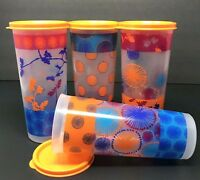 Tupperware Spring Tumbler Collection Set of 4 Tall Straight Edge 16 oz New