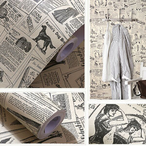 Vintage Newspaper Ads Wallpaper Black White Contact Paper Peel Stick Home Decro