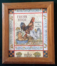 RISE AND SHINE FRESH EGGS ROOSTER & CHICKEN WOOD FRAMED PRINT 10X12
