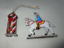 2 tin  ornament christmas tree Germany Horse Soldier in Guardhouse good conditio