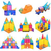 48/78/120 Kids Magnetic Tiles 3D Clear Colour Building Tiles Toy PlaySet STEM