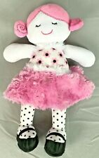 Baby Gear Pink & White Girl Doll Flowers Black Polka Dots Legs Shoes Skirt 11""