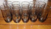 Juice glasses Smoke Green Optic swirl panel bowl weighted bottom 10 8 oz glasses