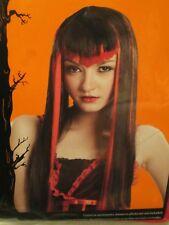 ADULT WIG LONG STRAIGHT BLACk & PINK HAIR PIECE VAMPIRE GOTH