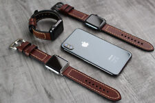 For Apple Watch 6 5 4 SE 42/44mm Genuine Brown Leather Strap Wrist iwatch Band