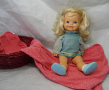 Vintage 1972 Mattel Cathy Quick Curl Baby Doll Toddler Blonde Blue Eyes Dress