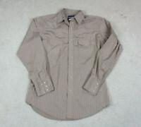 Wrangler Pearl Snap Shirt Adult Medium Brown Western Rodeo Casual Mens A55