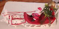 """Vintage 11"""" Plastic Christmas Sleigh Santa Claus & Reindeer w/Greenery"""