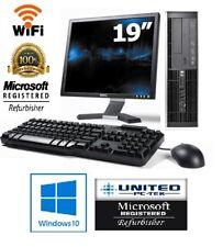"Lot of 10 hp PC W/19"" LCD Windows 7 Intel Core 2 Duo 3GHz 160GB WiFi 4GB Desktop"