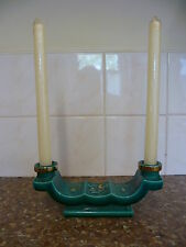 ATTRACTIVE, CHINESE, CERAMIC DOUBLE CANDLE HOLDER, WITH SQUIRREL & FRUIT PATTERN