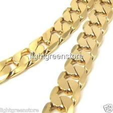 Men's necklace 18k 18ct Yellow gold Filled Solid curb chain GF jewelry 23.6 Inch