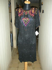 Vintage beaded silk cocktail dress with cut-out back (size M)