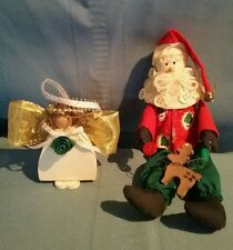 Button Beard Santa & Wood Angel Christmas Ornaments