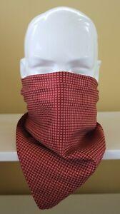 """100% Silk Neckerchief, cravat, face covering Rust & circles print 24"""" square."""