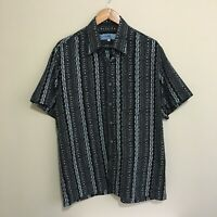 Elegance Abstract Vintage 90's Button Shirt Short Sleeve Adult Mens Large