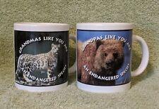 """Grandmas/G'pas Like You Are An Endangered Species"" Mugs Leopard Bear set Shelby"
