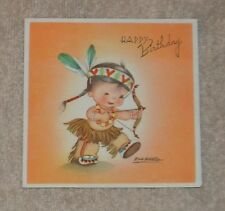 Vtg. Ars Sacra Birthday Card- Eva Harta-Cute Boy Dressed As An Indian-1947