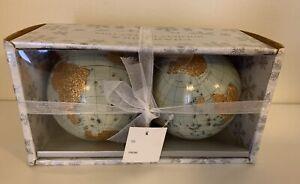 "Set 2 BEAUTIFUL HANDMADE WORLD MAP GLOBE 3.5"" CHRISTMAS BALL ORNAMENTS BOXED"