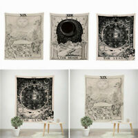 Tarot Psychedelic Tapestry Wall Hanging Sun Moon Blanket Bedspread Mat Decors