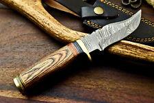 Rare Custom Hand Made Damascus Steel Blade Hunting Knife | Hard Wood |