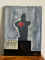 Sacred Heart Jesus Religious Painting Hand Painted Artwork Canvas 9X12""