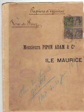 Lettre Cover 1883  ile maurice 3 x 5 c Sage  Mauritus Port louis voie suez