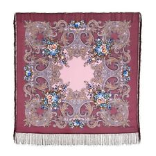 "Authentic Russian Pavlovo Posad Shawl w/silk fringe #168503 (49""x 49"")"