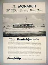 Feadship Inc. PRINT AD - 1956 ~~ Monarch 70-ft. Cruising Yacht
