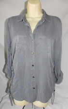 b25fa013 Women's Rock & Republic Gray Button Front Ruched Sides Roll-Tab Top Size  Small